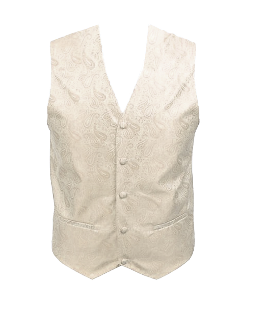 Paisley Men's Poly Woven Vest , ExtraLarge, Ivory