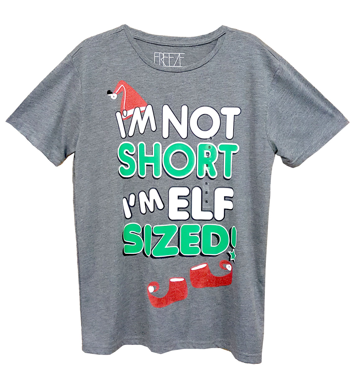 JUNIOR I AM NOT SHORT I'M ELF SIZED GRAPHIC TSHIRT Mens and Boys Tee Shirt - Grey - Small Size