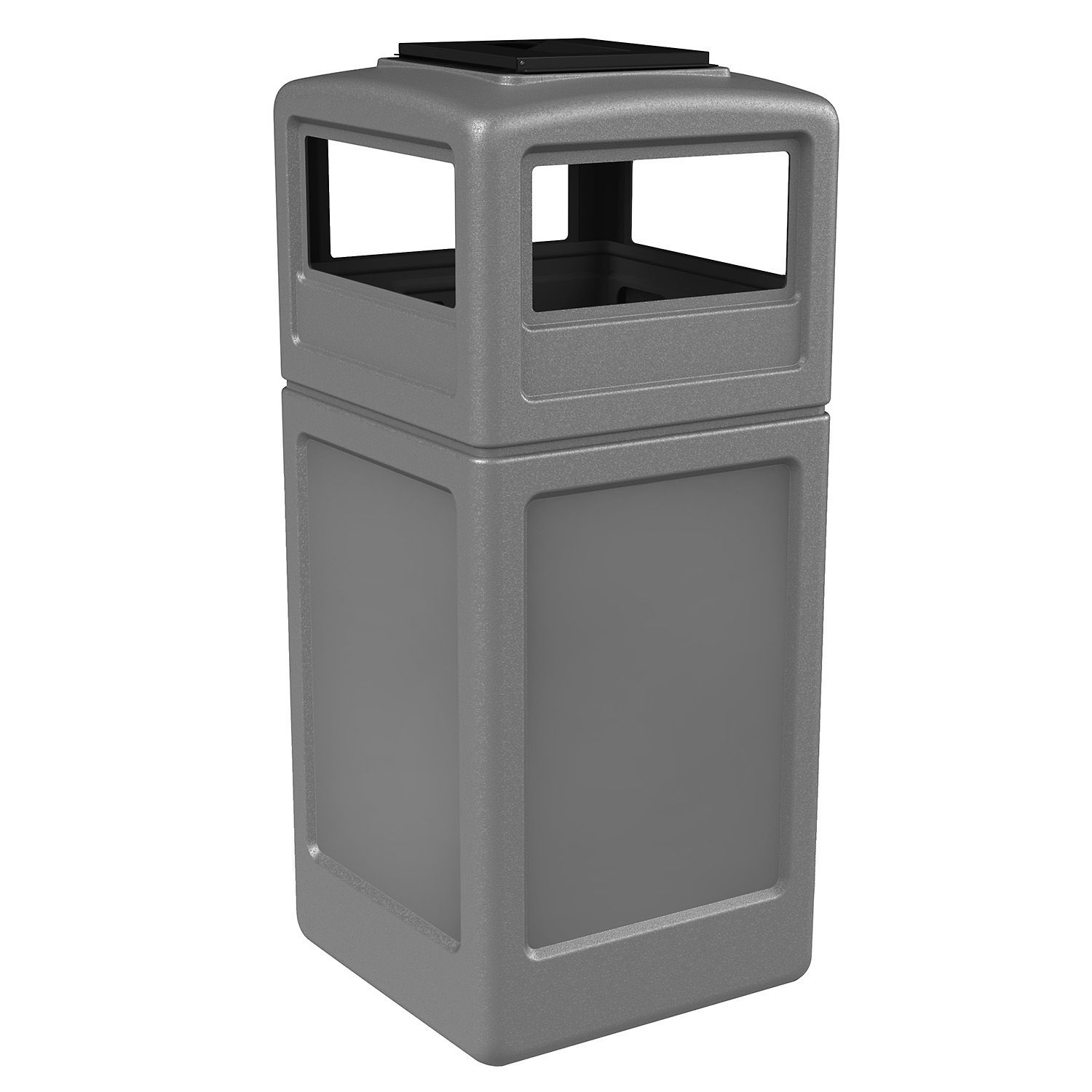 42 Gallon Square Waste Container with Ashtray Dome Lid Color: Gray