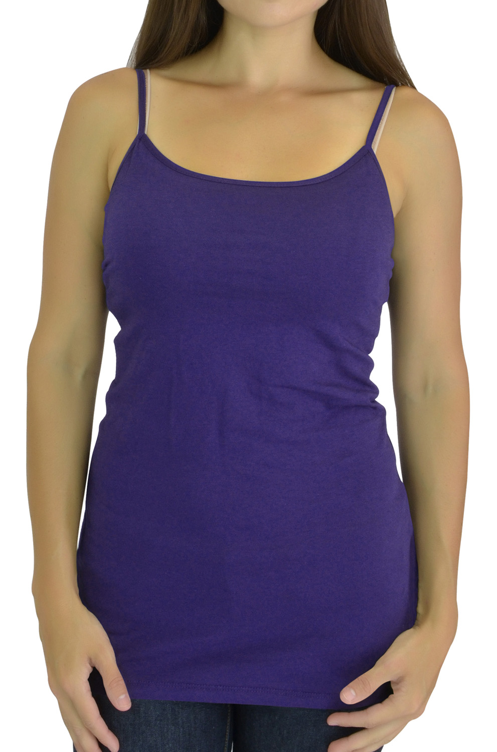 Belle Donne Women Extra Long Tank Top Built in Shelf Bra - Purple Small