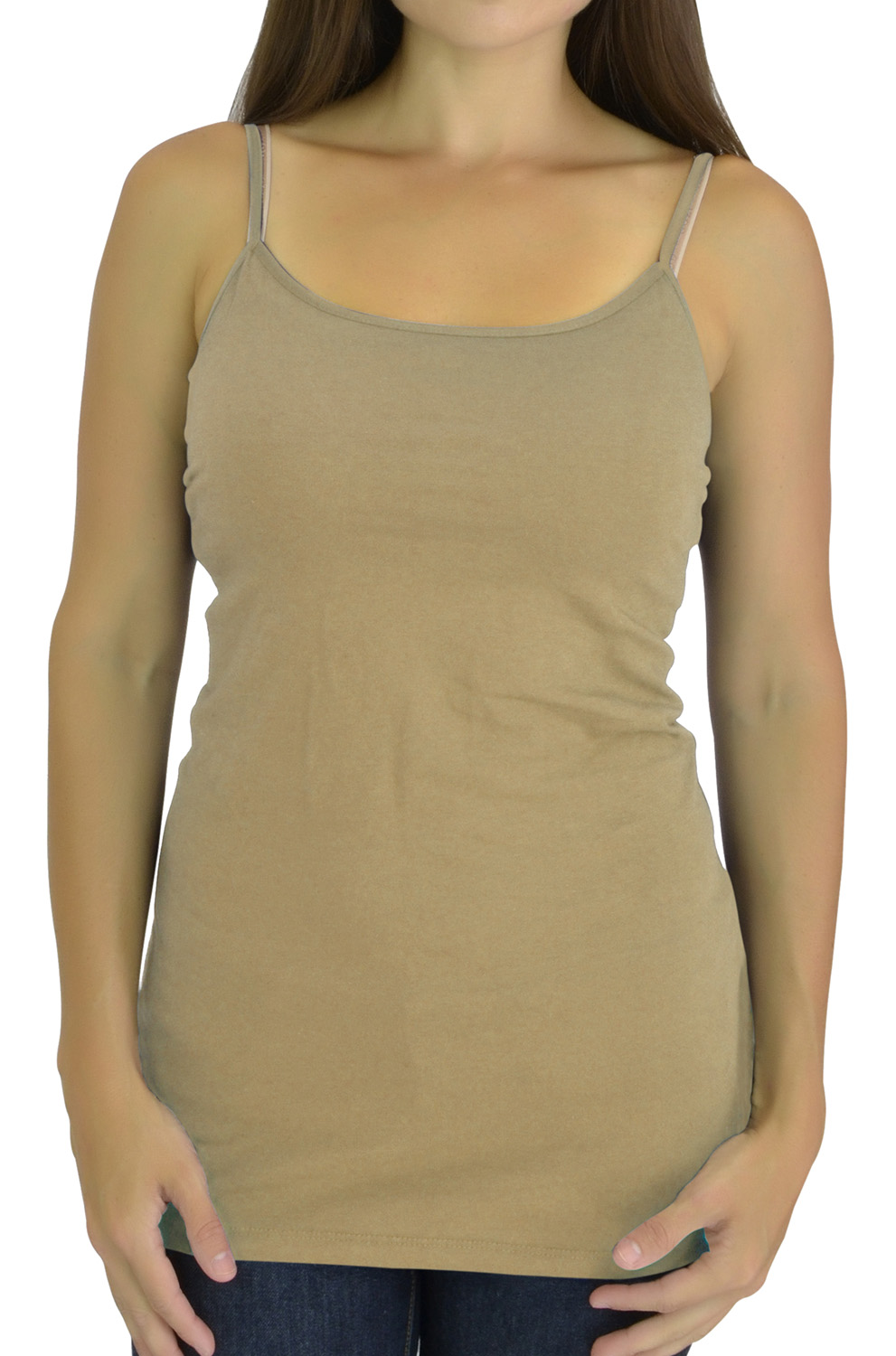 Belle Donne Tanktop for Women Extra Long Cami Tank Top with Built in Shelf Bra Cotton - Taupe Small