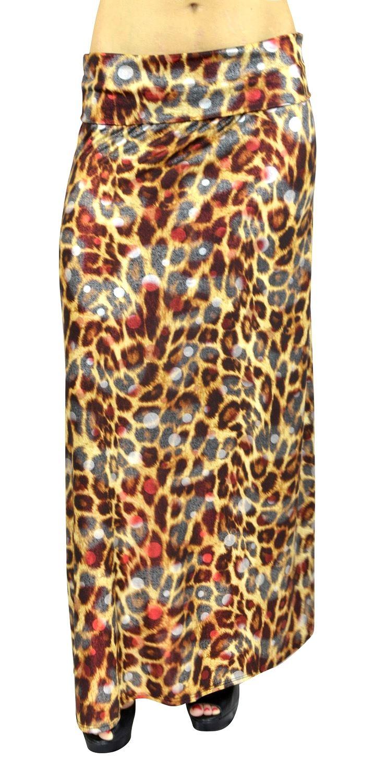 BelleDonne - Women's Maxi Skirt Rayon Stretchy Long Skirt High Waist Skirt - Brown/X-Large