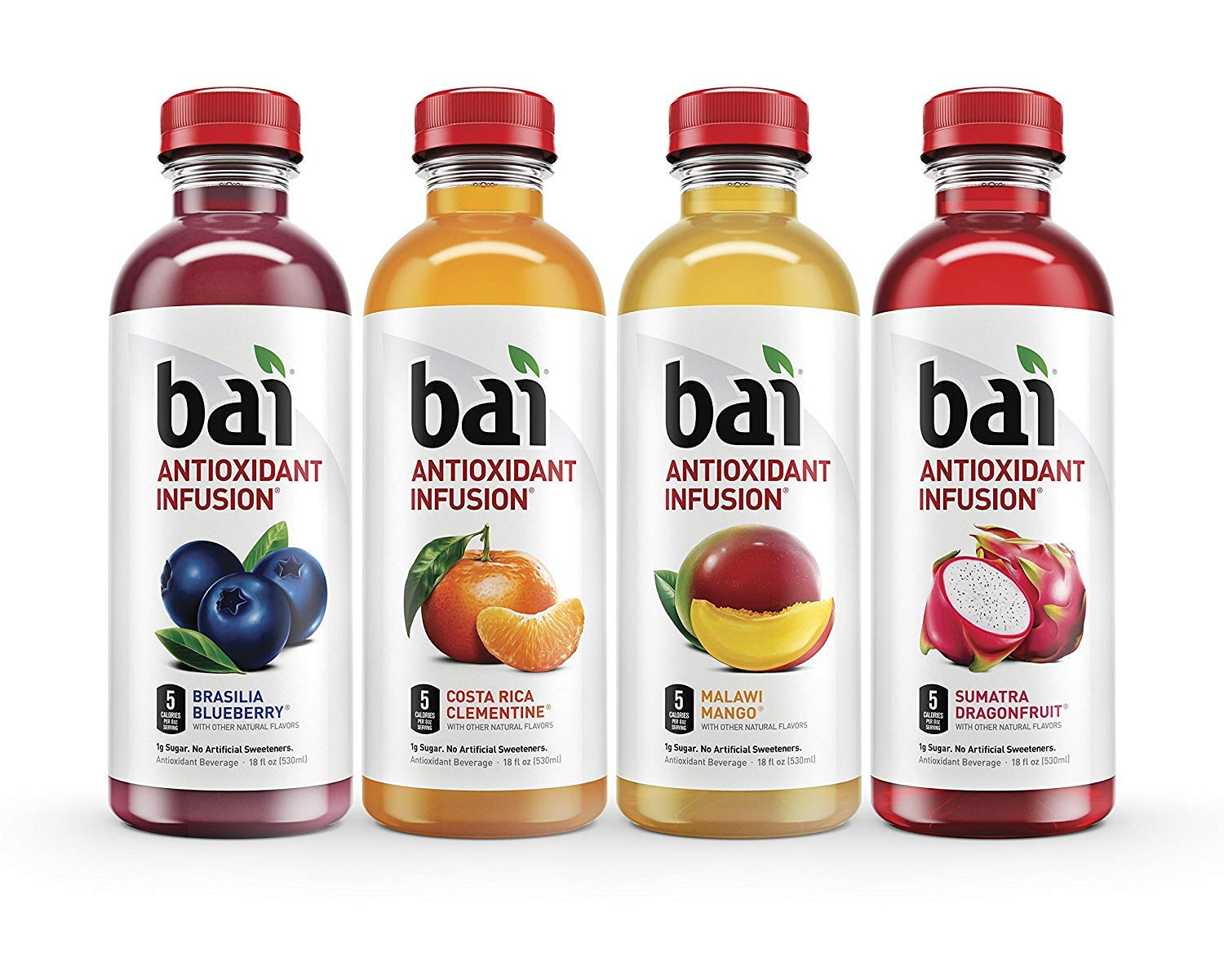 Bai Coconut Flavored Water, Cocofusions Variety Pack VI, 18 Fluid Ounce Bottles, 12 count, 3 each of Costa Rica Clementine, Sumatra Dragonfruit,Brasilia Blueberry, Malawi Mango