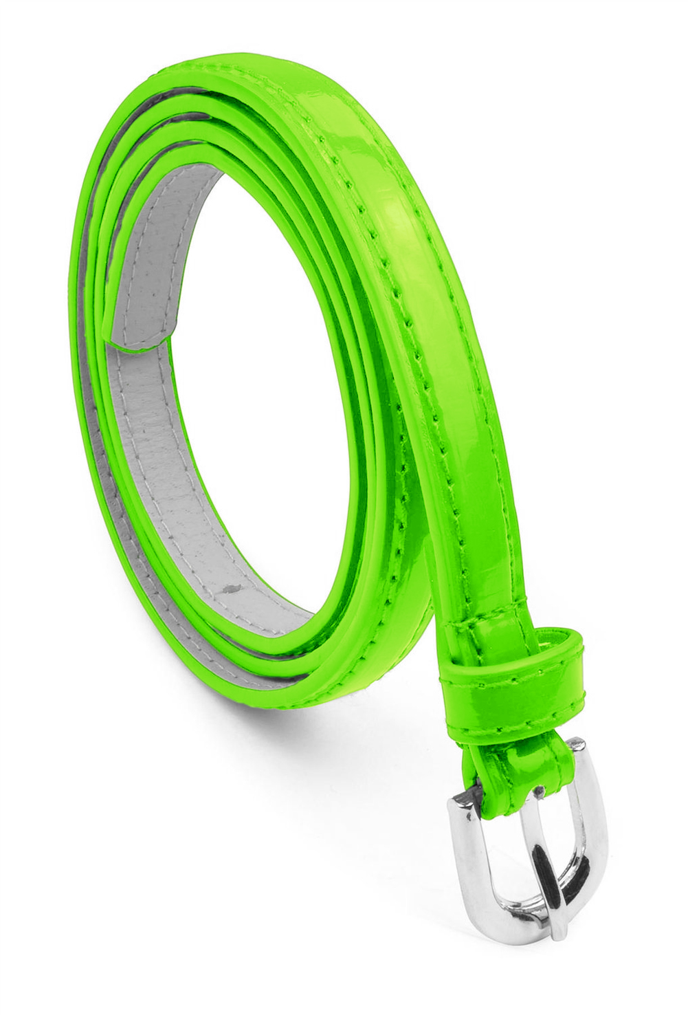 Women Dress Belt Polished Buckle Bonded Leather - Neon Green Large