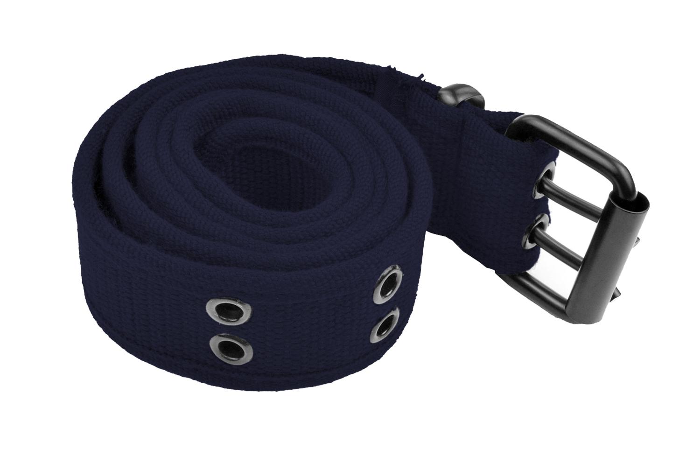 Grommet Belt for Women & Men - Double Hole Grommets Canvas Web Belts - Military Style Belt - 2 Prong Buckle by Belle Donne - Navy