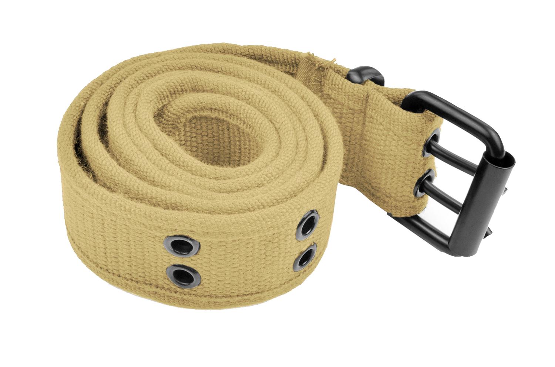 Grommet Belt for Women & Men - Double Hole Grommets Canvas Web Belts - Military Style Belt - 2 Prong Buckle by Belle Donne - Khaki