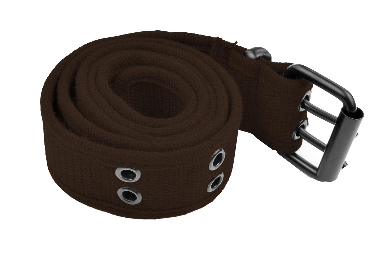 Grommet Belt for Women & Men - Double Hole Grommets Canvas Web Belts - Military Style Belt - 2 Prong Buckle by Belle Donne - Brown