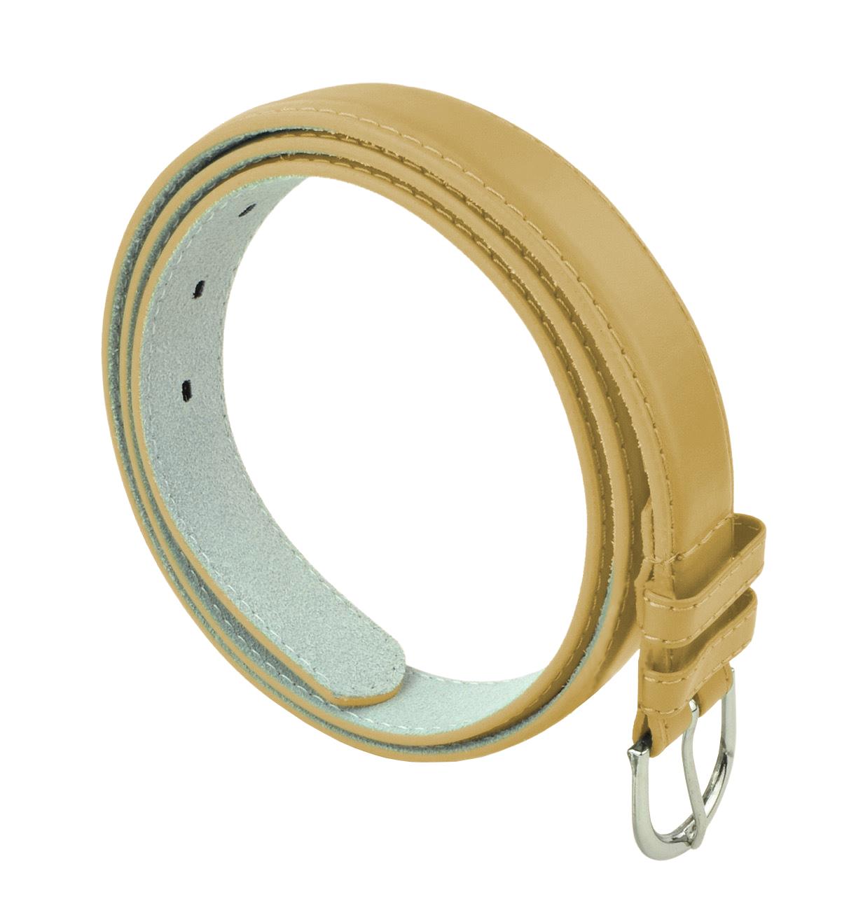 Womens Chic Dress Belt Bonded Leather Polished Buckle - Khaki Medium