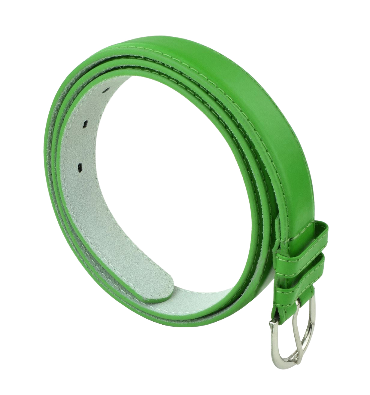 Womens Chic Dress Belt Bonded Leather Polished Buckle - Fd Green Large