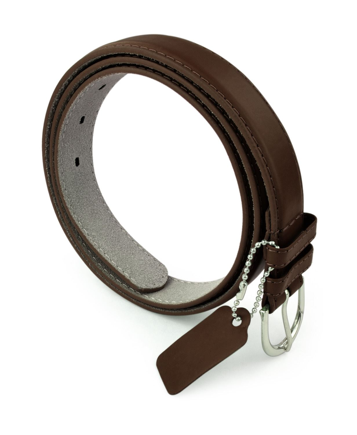 Womens Chic Dress Belt Bonded Leather Polished Buckle - DarkBrown Large