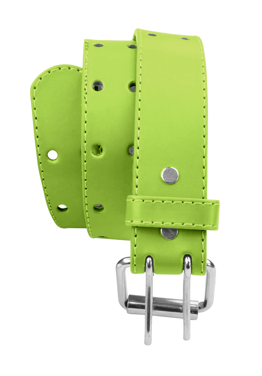 Kids 2 Holes Belt Double Prong Buckle PU Leather Glittery - Light Green Medium