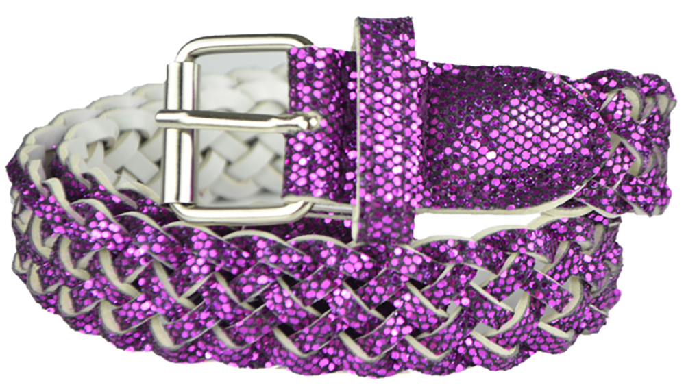 Girls Belt - Colorful Metallic Glitter Braided Faux Leather Belt for Kids by Belle Donne - Purple Large