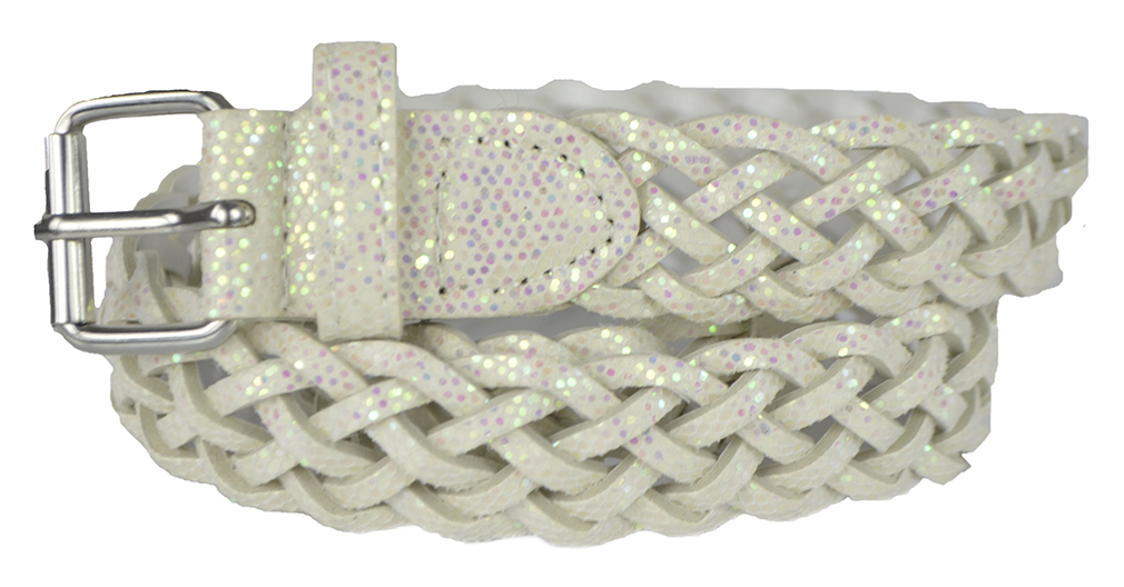 Girls Belt - Colorful Metallic Glitter Braided Faux Leather Belt for Kids by Belle Donne - White Medium