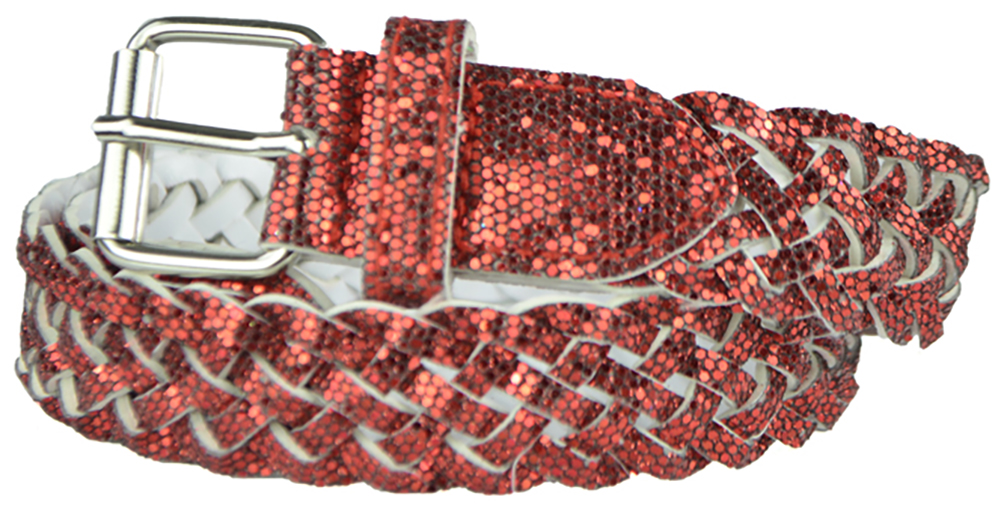 Girls Belt - Colorful Metallic Glitter Braided Faux Leather Belt for Kids by Belle Donne - Red Medium