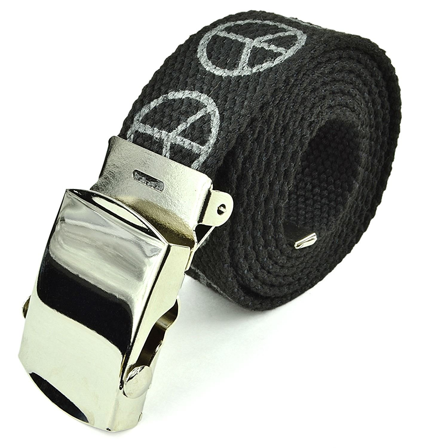 "Canvas Web Belt Military Tactical Style Slide Buckle 44"" / 46"" Long - Black"