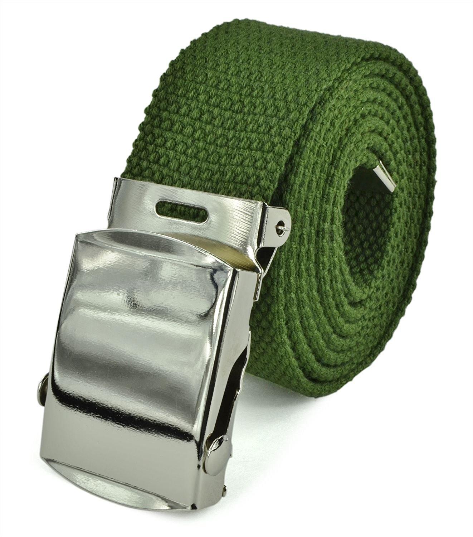"Canvas Web Belt Military Tactical Style Slide Buckle 44"" / 46"" Long - Dark Green"