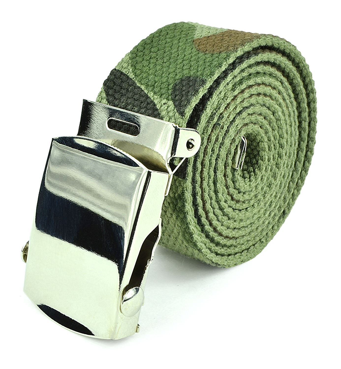 "Canvas Web Belt Military Tactical Style Slide Buckle 44"" / 46"" Long - Army Green"