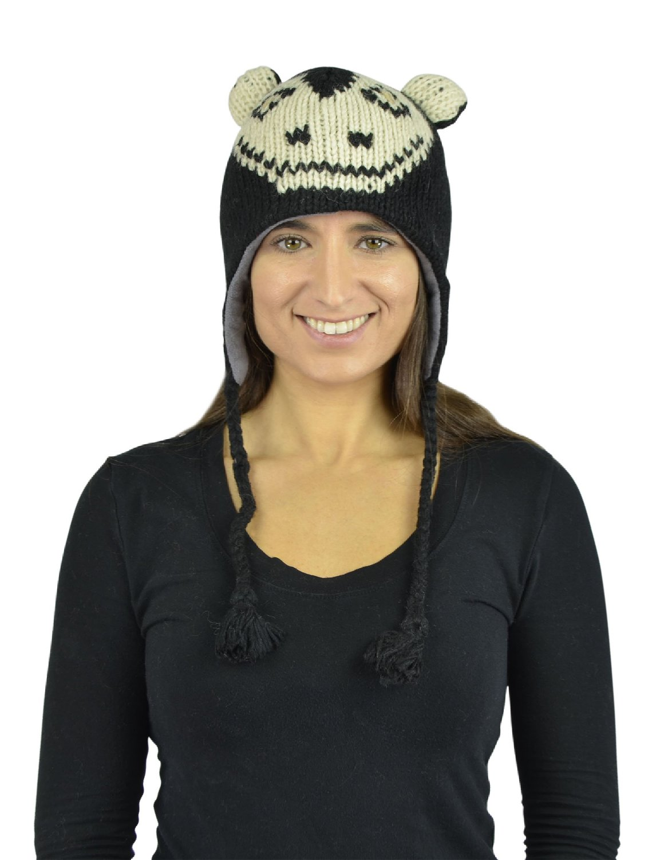 Belle Donne - Unisex Winter Knit Capuchin Animal Hats with Pom Pom - Black
