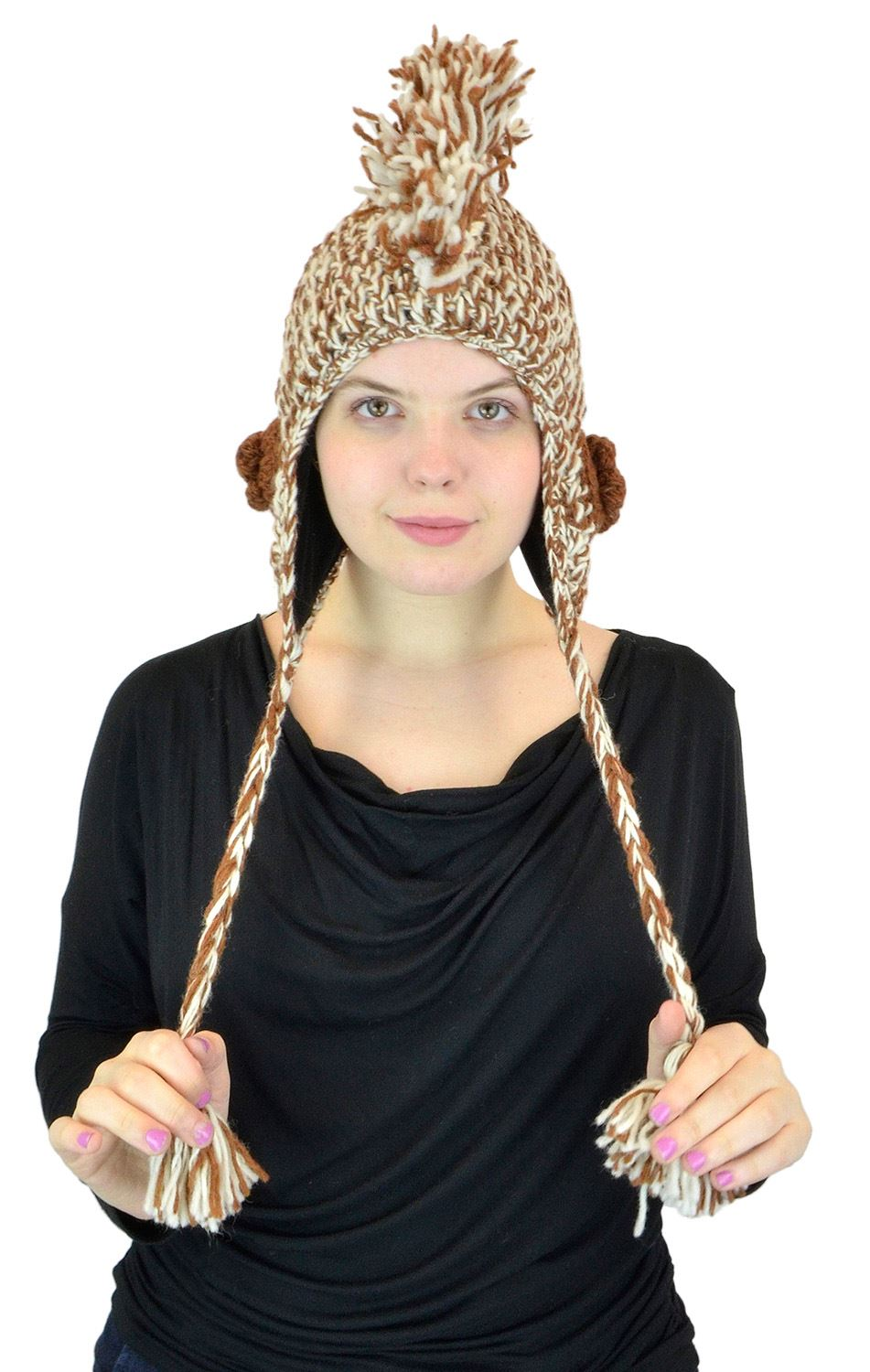 Belle Donne Brown Plain Mohawk Wool Hat