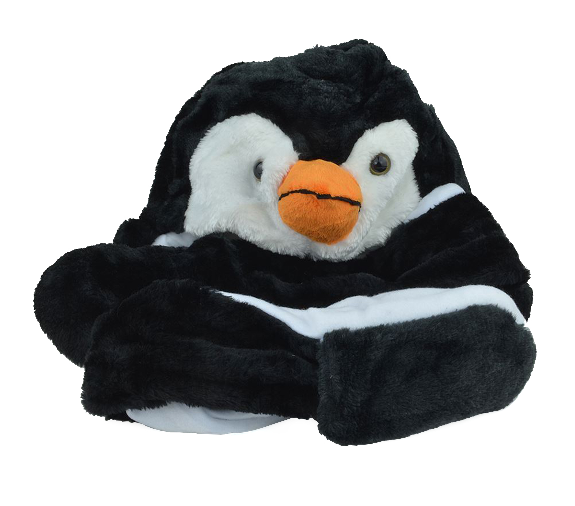 Belle Donne-Unisex Warm Animal Hats Paw Mittens Winter Headwear-Penguin