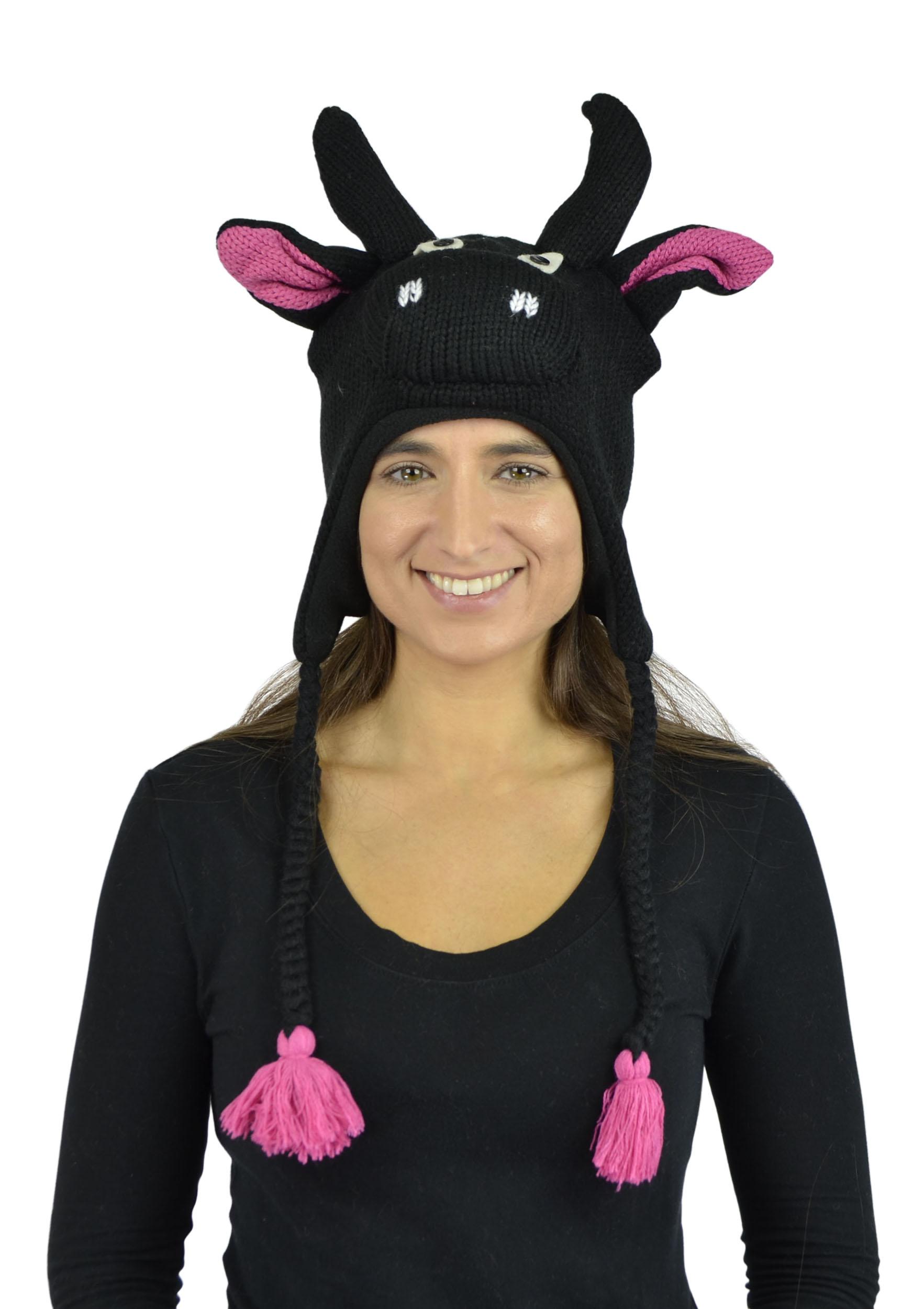 Belle Donne - Unisex Winter Knit Bull Animal Hats with Pom Pom - Black
