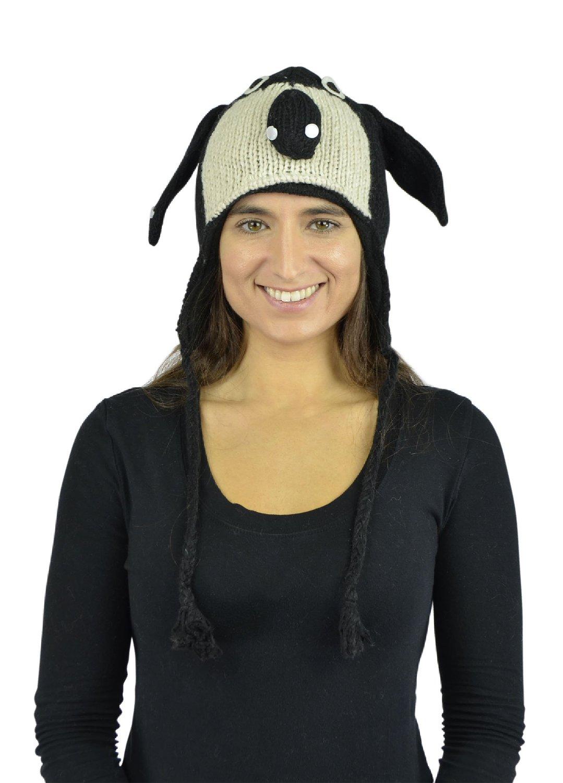 Belle Donne - Unisex Winter Knit Beagle Animal Hats with Pom Pom - Black