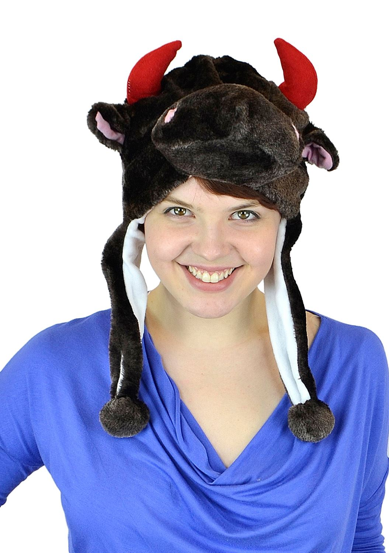 Belle Donne- Unisex Animal Hats Plush Style Pom Pom - Warm Winter Hats - BrownBull