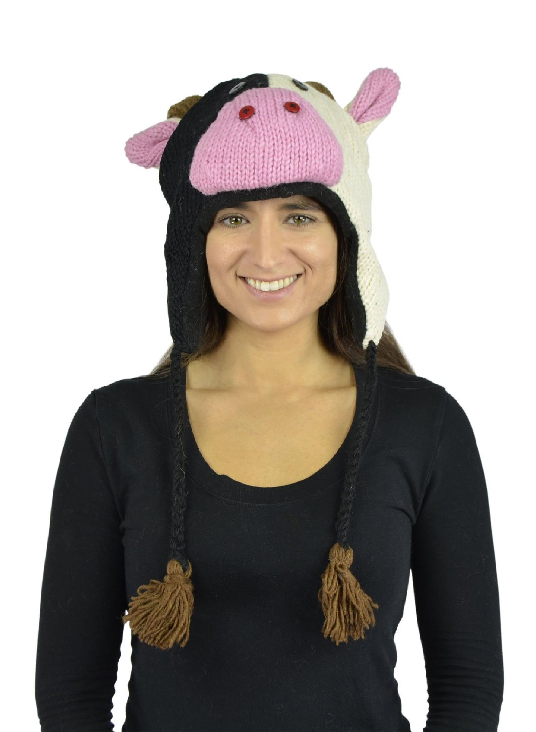 Belle Donne - Unisex Winter Knit Milk Cow Animal Hats With Pom Pom - White
