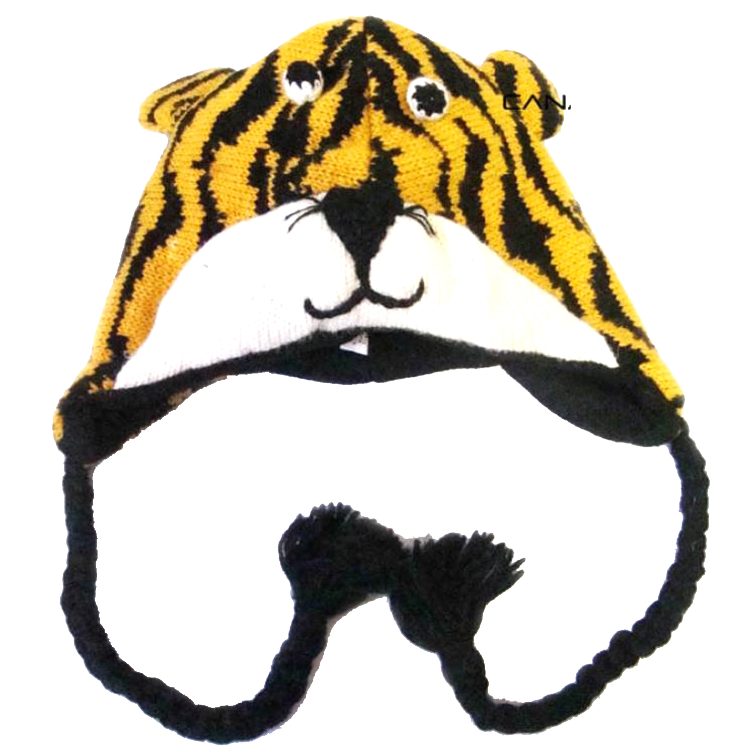 Belle Donne - Winter Hats Animal Hats Pom Pom Style Knit Plush Beanies for Women - Yellow Tiger