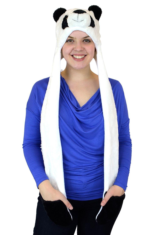 Belle Donne-Unisex Warm Animal Hats Paw Mittens Winter Headwear-Panda