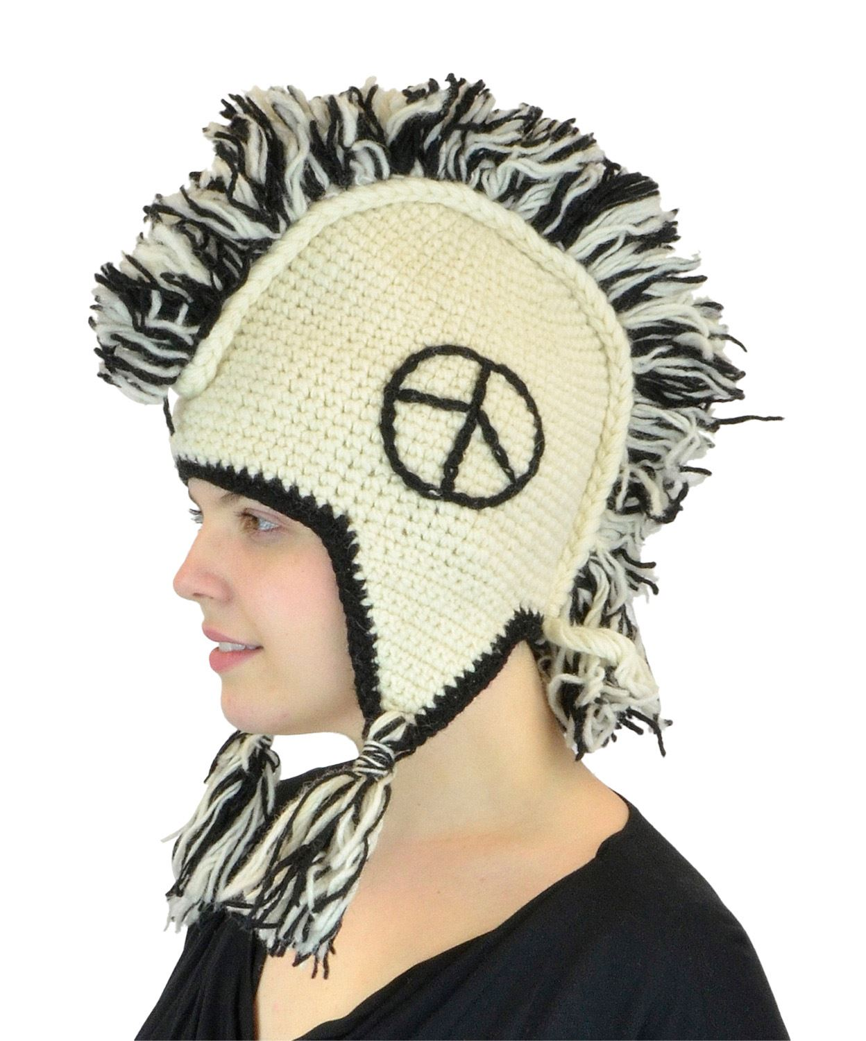 White Peace Mohawk Wool Hat