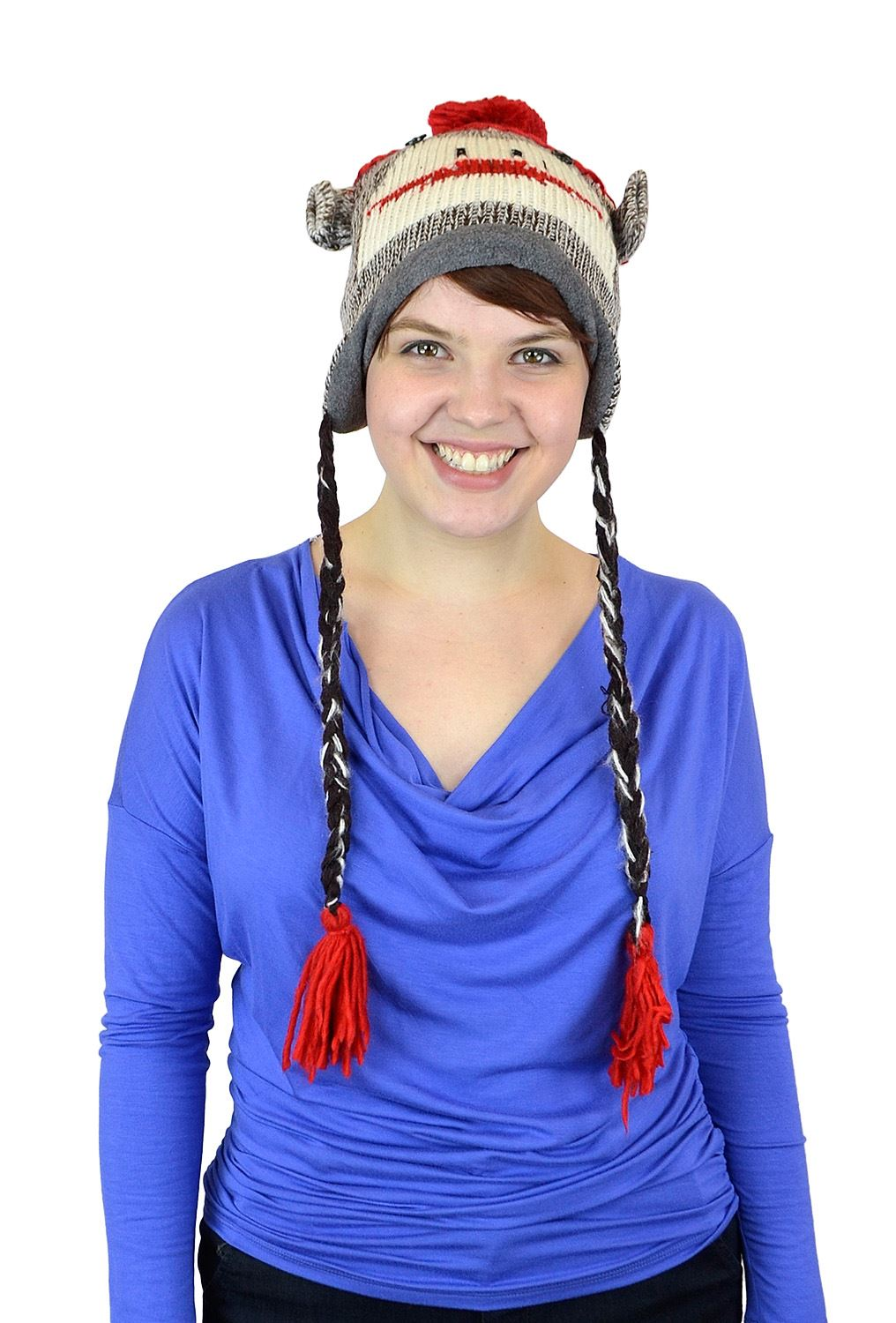 Belle Donne Unisex Winter Knit Monkey Animal Hats with Pom Pom - Brown