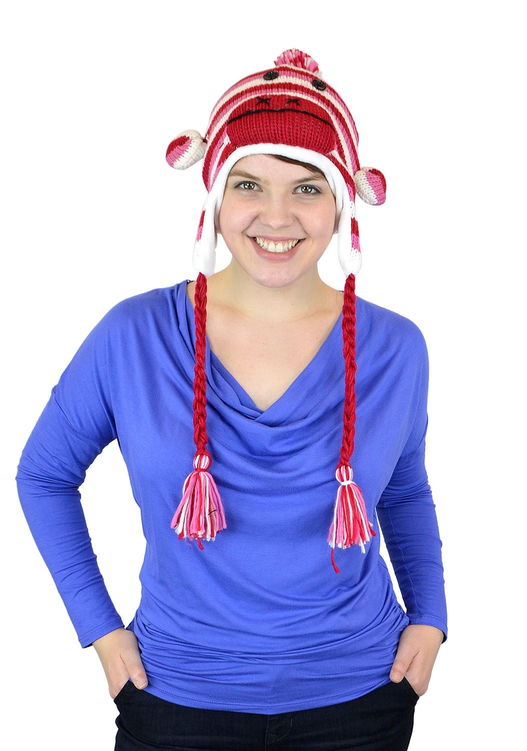 Belle Donne - Unisex Winter Monkey Animal Hats with Pom Pom - Red