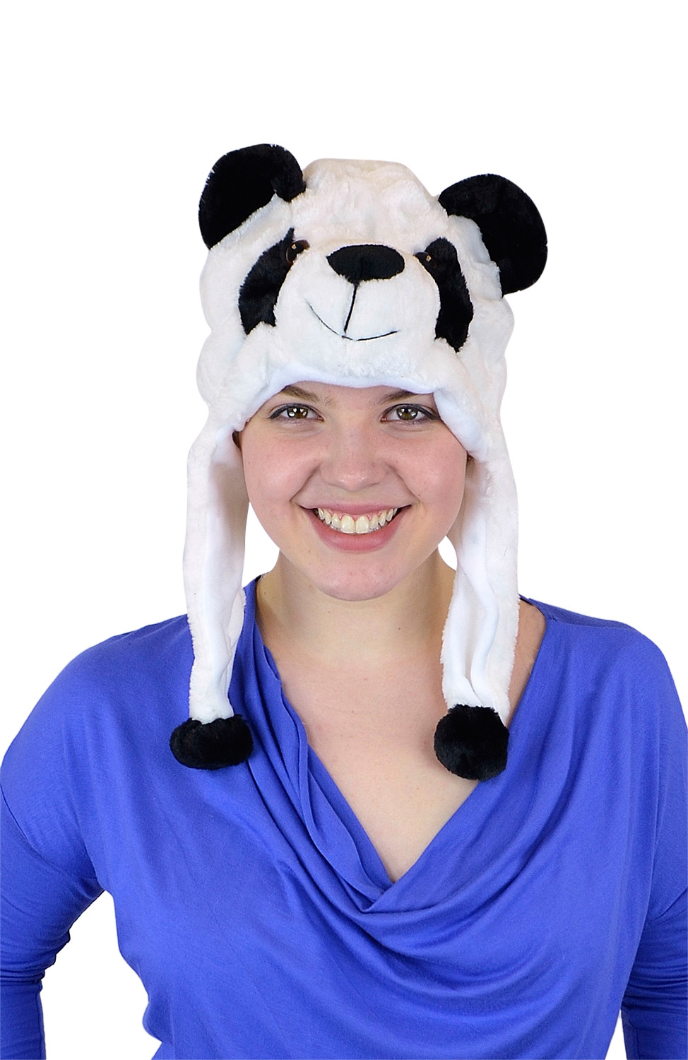 Belle Donne- Unisex Animal Hats Plush Style Pom Pom - Warm Winter Hats - Panda