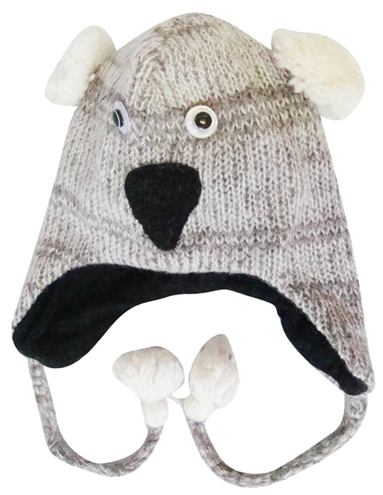 Belle Donne - Winter Hats Animal Hats Pom Pom Style Knit Plush Beanies for Women - Koala