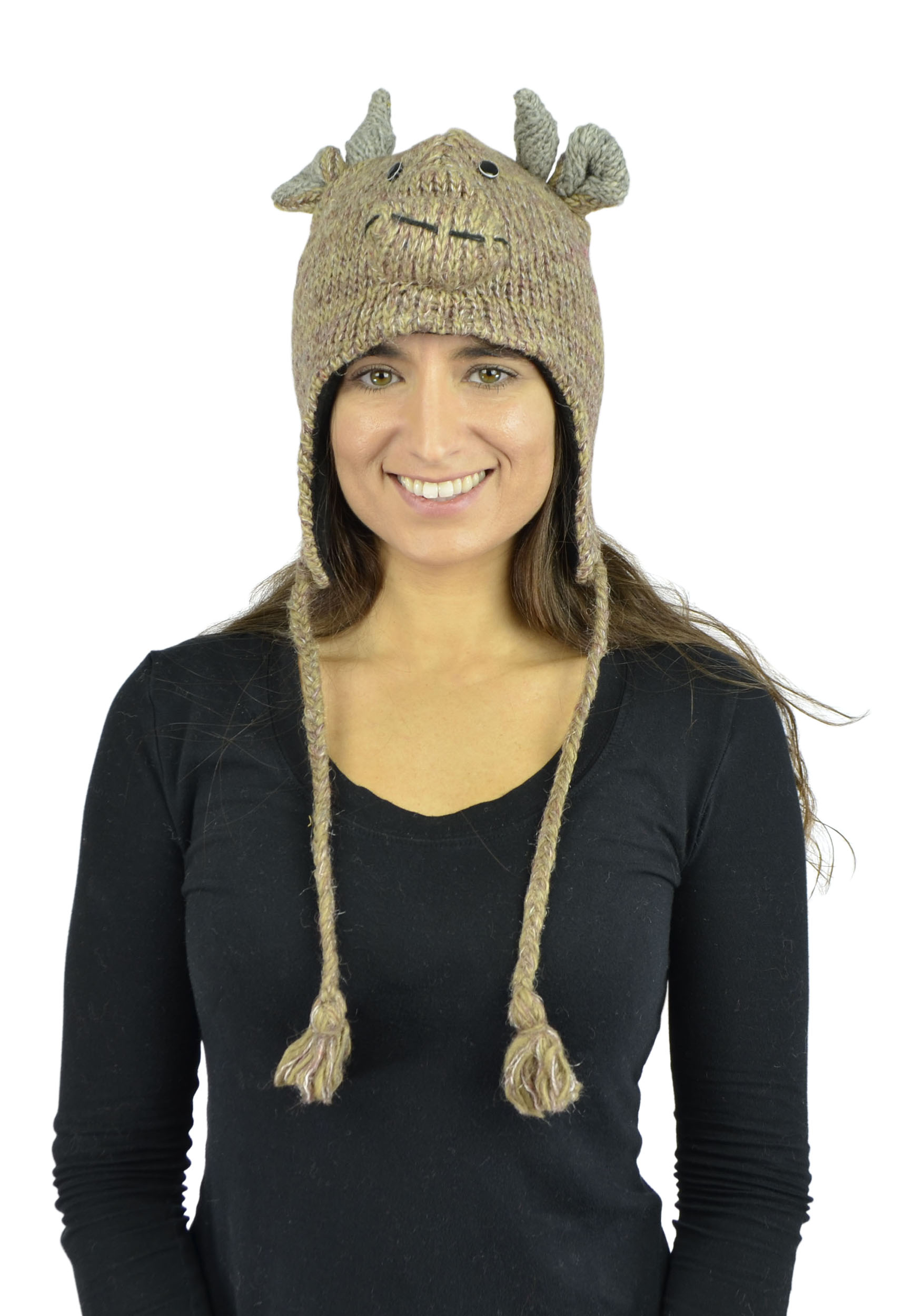 Belle Donne - Unisex Winter Knit Bull Animal Hats With Pom Pom - LightBrown