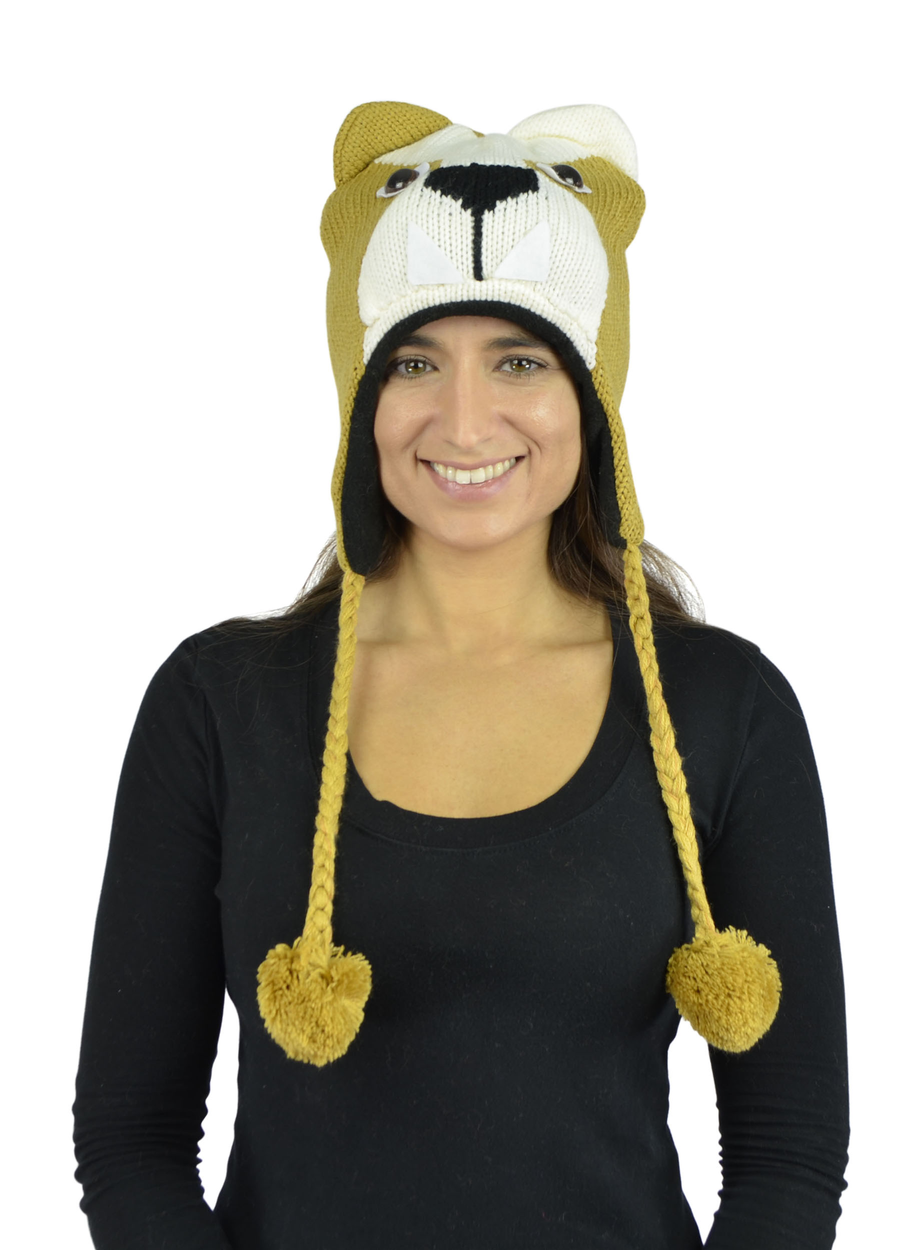 Belle Donne - Unisex Winter Knit Puppy Animal Hats With Pom Pom - Mustard