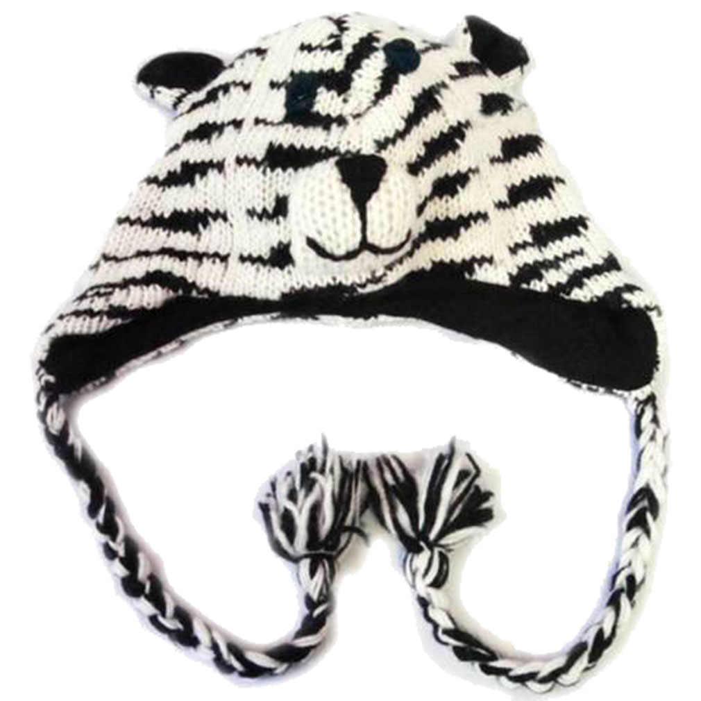 Belle Donne - Winter Hats Animal Hats Pom Pom Style Knit Plush Beanies for Women - Tiger