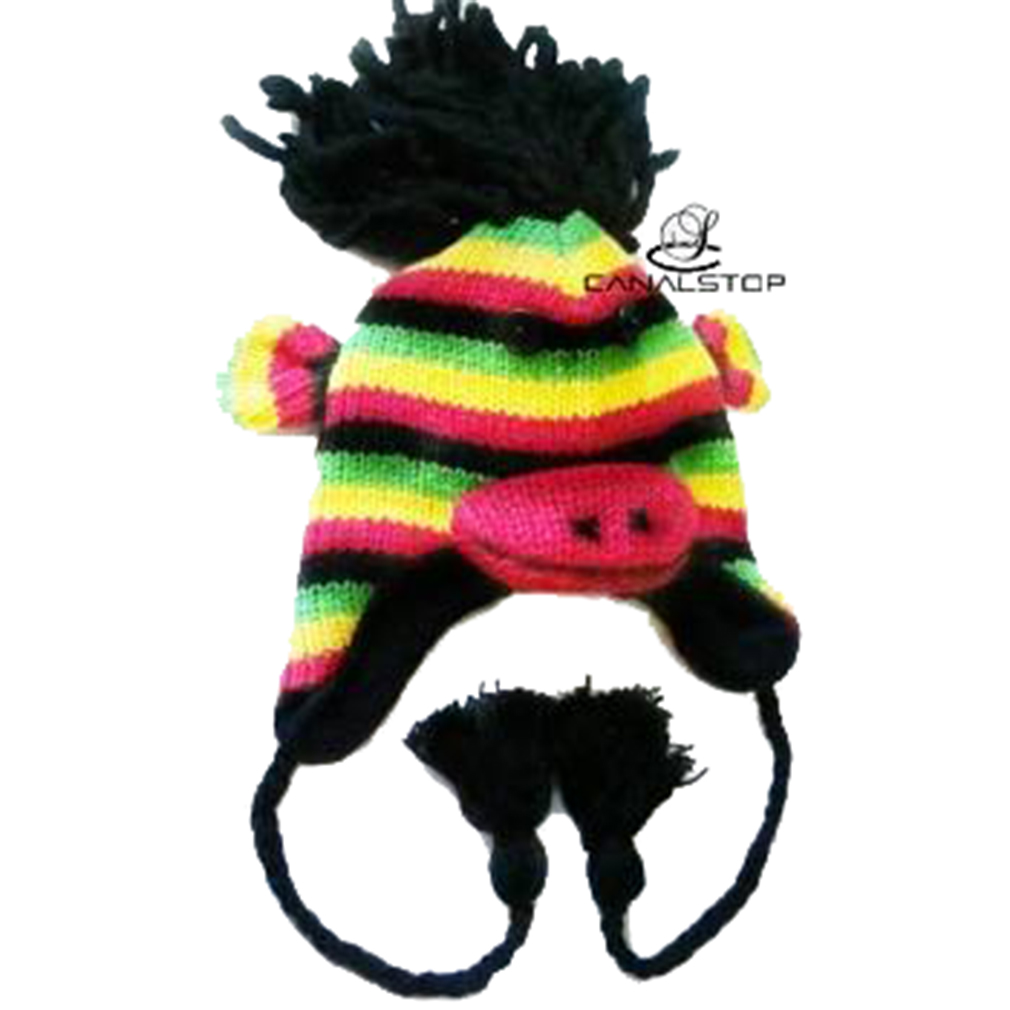 Belle Donne - Winter Hats Animal Hats Pom Pom Style Knit Plush Beanies for Women - Rasta Monkey