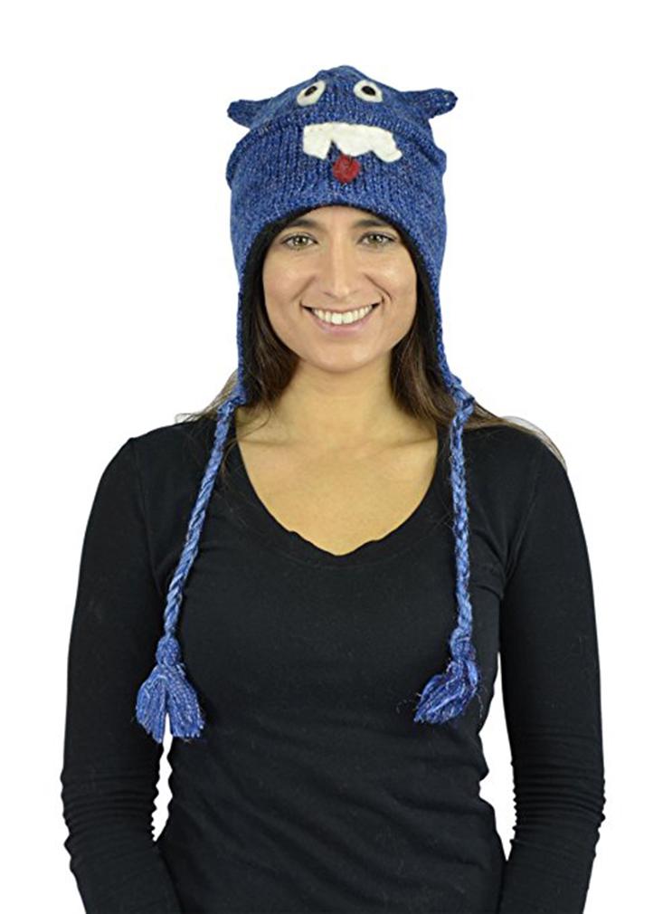 Belle Donne - Unisex Winter Knit Giraffe Animal Hats with Pom Pom -