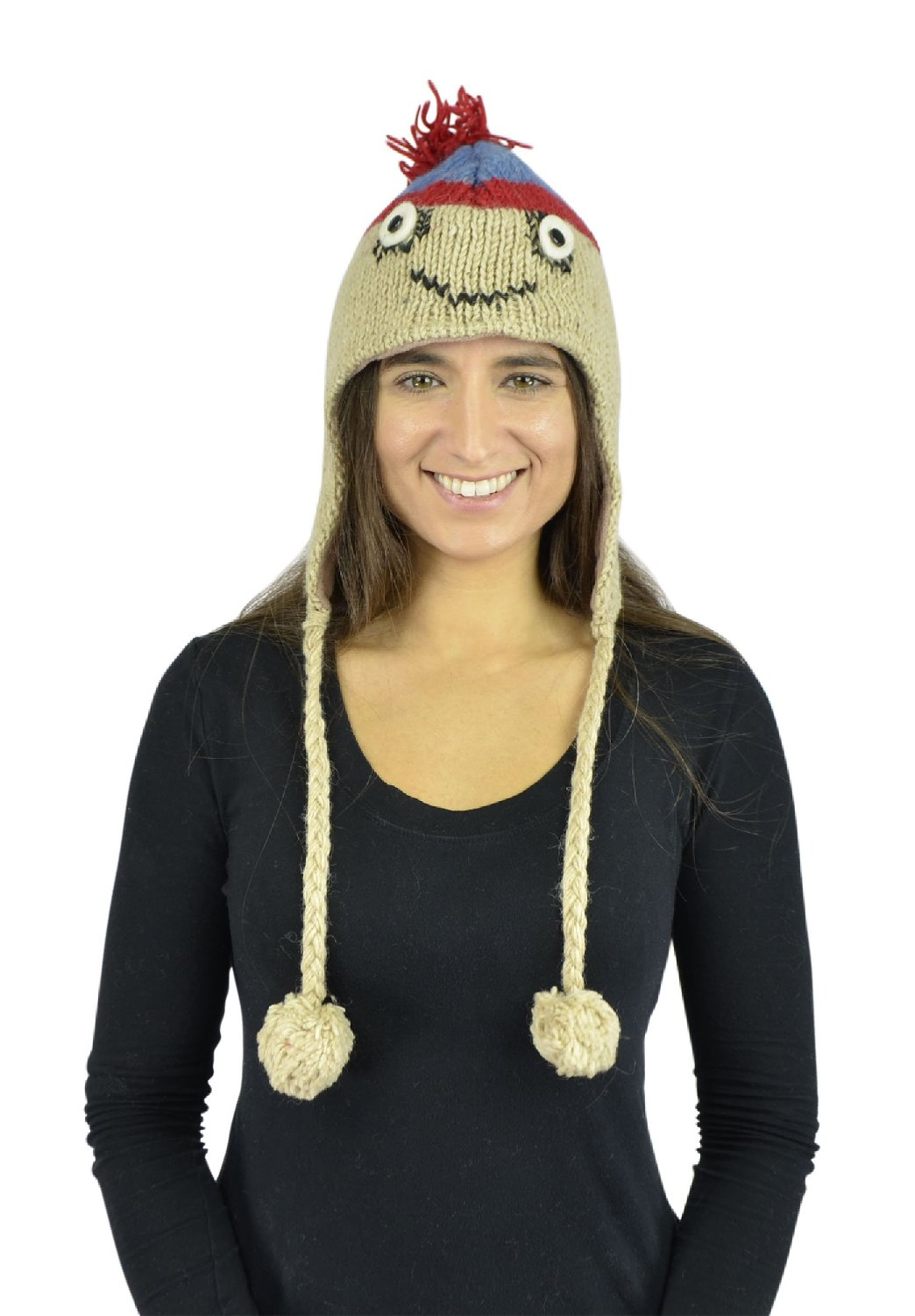 Belle Donne - Unisex Winter Knit Atan Animal Hats With Pom Pom - Tan