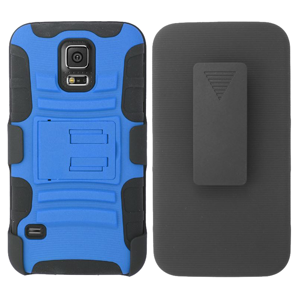 For Samsung Galaxy S5 - Heavy Duty Armor Style 2 Case w/ Holster - Black/Blue AM2H