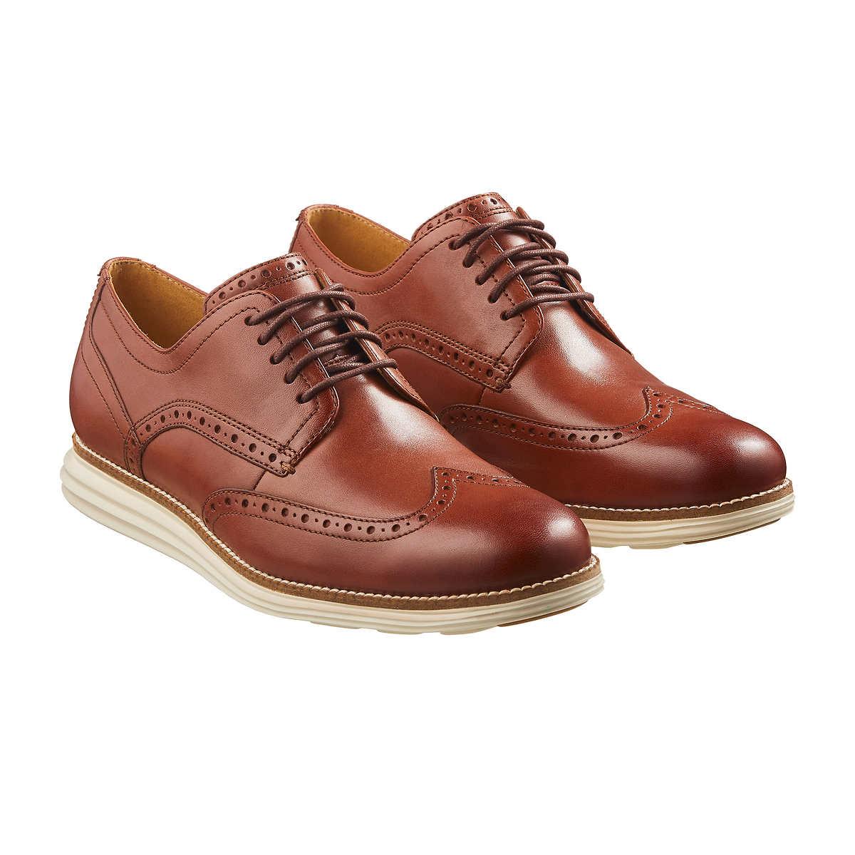 Cole Haan Men's Original Grand Shortwing Oxford Shoe, Woodbury Leather/Ivory, 10 Medium US