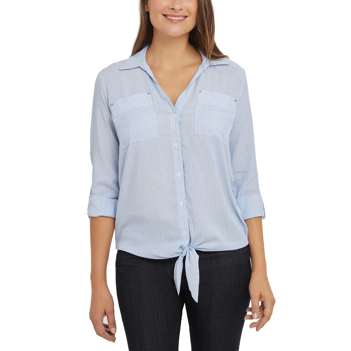 Jones New York Women's Front Tie Button Down Blouse Top (Blue Stripe, M)