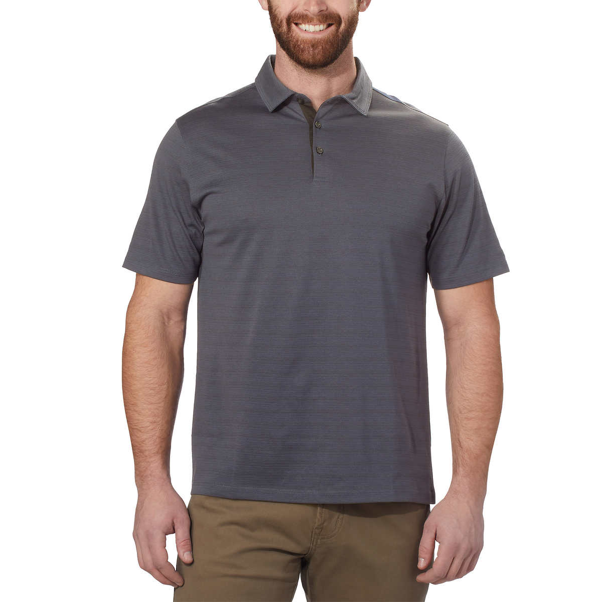 Kirkland Signature Men's Cotton Poly Polo Shirt (Grey, XX-Large)