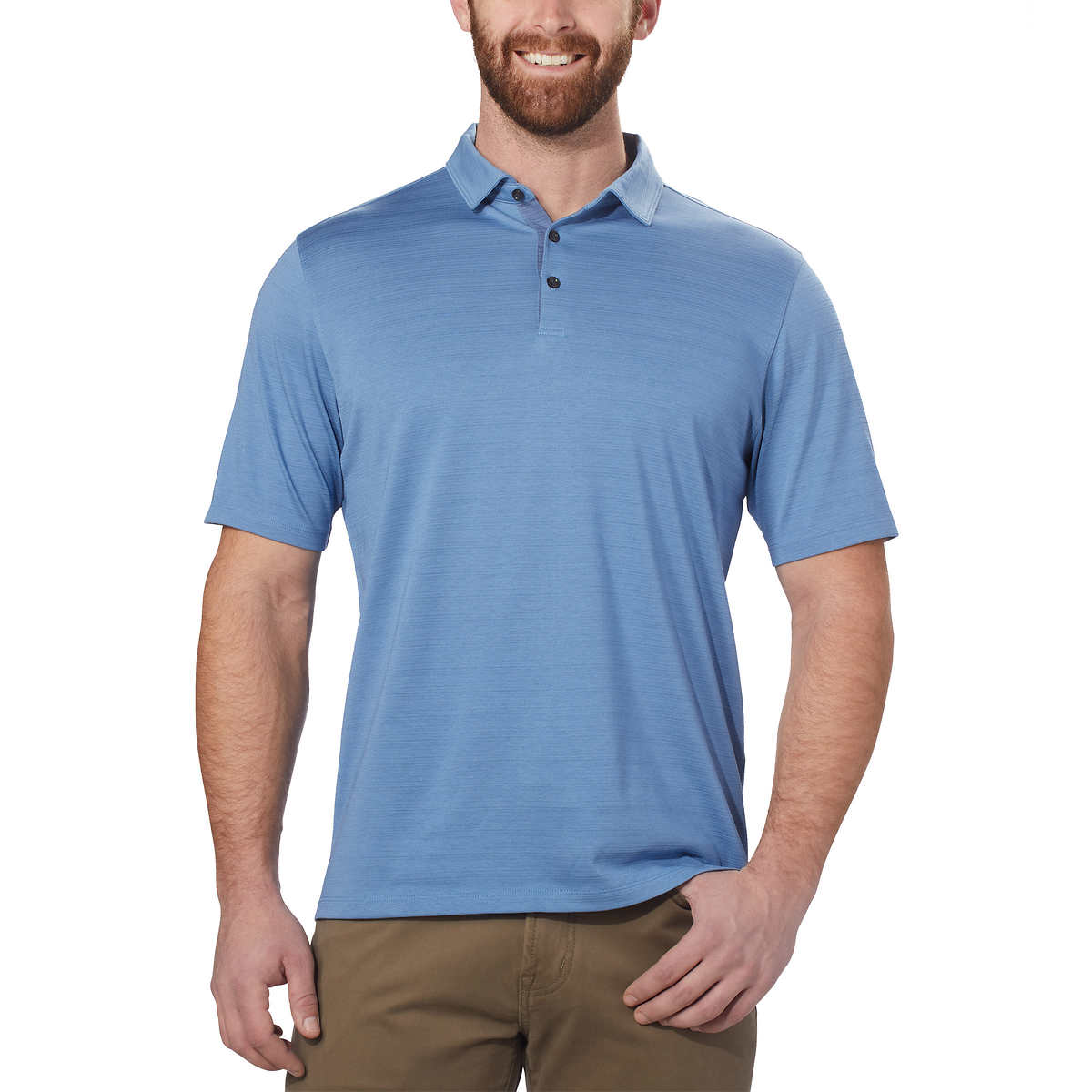 Kirkland Signature Men's Cotton Poly Polo Shirt (Light Blue, XL)