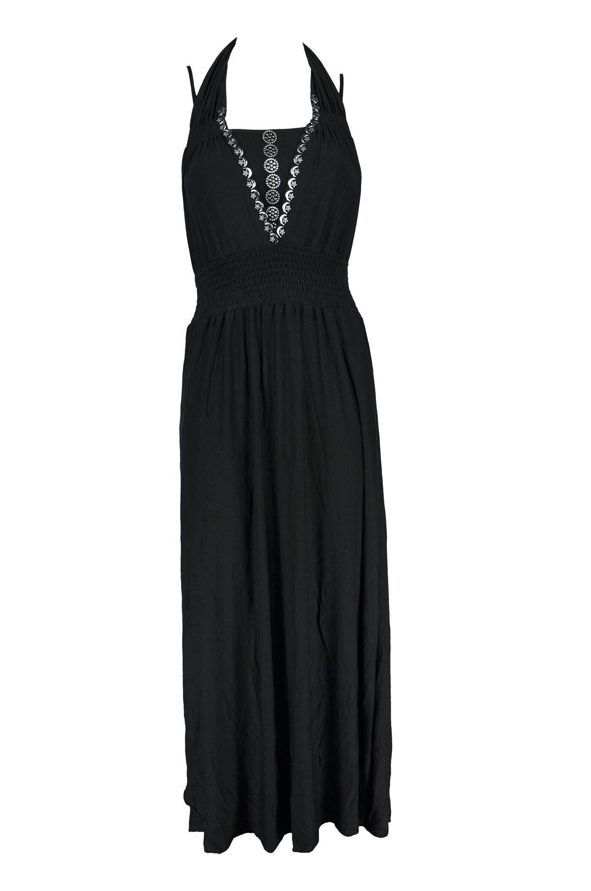 Belle Donne -Women Maxi Dress Summer Dress Top Halterneck Fashion Long Dress - Black