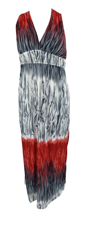 Belle Donne - Women's Bright Color Tie Dye Print Long Dress Cross Back - Red/Medium