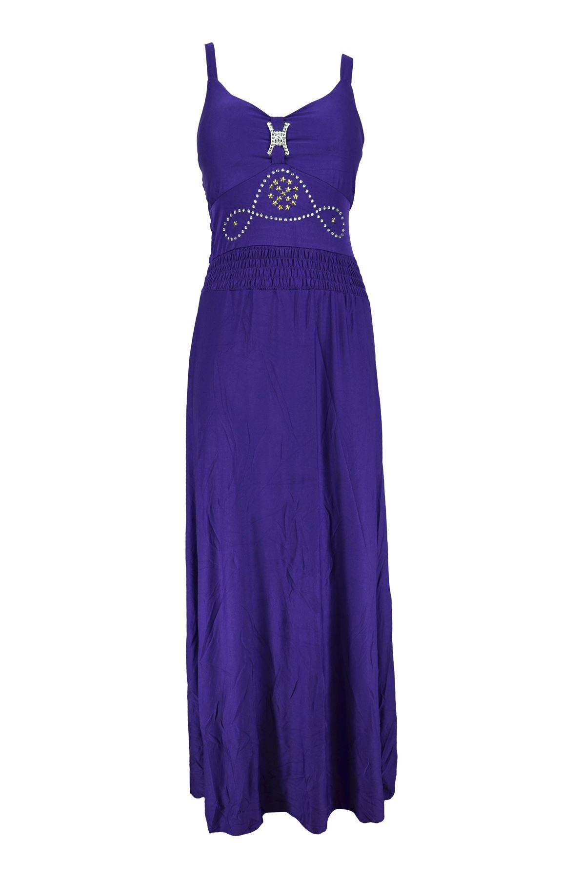 Belle Donne-Womens Clothing Long Maxi Simple Strap Solid Color Dress-Purple -L