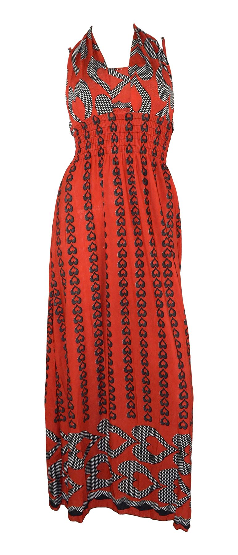 Belle Donne Women's Heart Pattern Summer Dress-Red/L